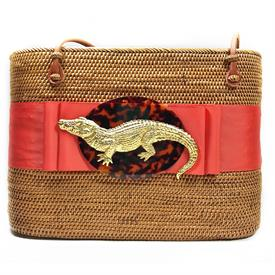 -,ORANGE RIBBON WITH GATOR ON TORTOISE SHELL BAG
