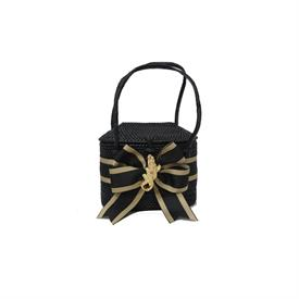 -,BLACK & GOLD STRIPED BOW WITH MINI GOLD GATOR PURSE.