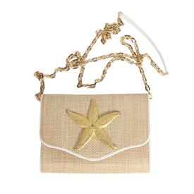 "-,STRAW CROSSBODY WITH WHITE TRIM 7 GOLD STARFISH. 8"" LONG, 5.5"" TALL, 2.5"" DEEP. 60"" STRAP"