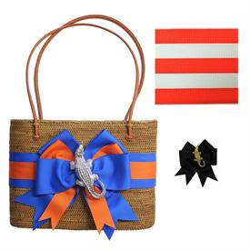 "-,LARGE OVAL BALI BAG WITH GOLD GATOR & ORANGE & WHITE STRIPED RIBBON. 13"" LONG, 10"" TALL, 4"" DEEP. 26"" ORANGE LEATHER STRAPS"
