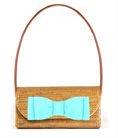 "-,COLLEEN BAG WITH TIFFANY BLUE BOW. BALI STRAW BAG STYLE. 12"" WIDE, 6"" TALL, 4"" DEEP. FAUX LEATHER SHOULDER STRAPS"