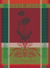 -,COQUELICOTS CARMIN KITCHEN TOWEL. 22X30""