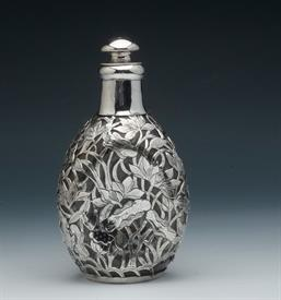 """,SILVER & GLASS BOTTLE, MARKED STERLING VCC ON THE BOTTOM 7.25"""", MONO k ON THE STOPPER"""