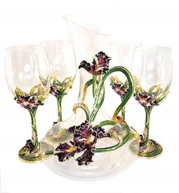 "-,5 PIECE ORCHID WINE DECANTER AND GLASS SET. ENAMELED & CRYSTALED METAL OVER HAND BLOWN GLASS BOWLS. INCLUDES 1 10"" DECANTER & 4 8.5"" GLASS"