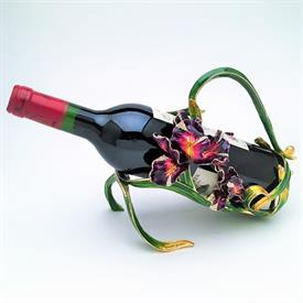 "-,ORCHID WINE BOTTLE HOLDER. 7.75"" TALL, 7.75"" LONG"