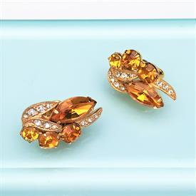 ",1940'S EISENBERG AMBER & CLEAR RHINESTONE IN GOLD TONE METAL CLIP-ON EARRINGS. 1"" LONG, .6"" WIDE"