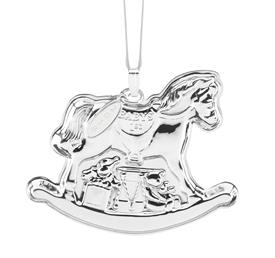 """-,2018 Baby's 1st Rocking Horse Ornament Sterling Silver made by Reed & Barton in USA Height 2.75"""" tall SKU# 877550 MSRP $150"""