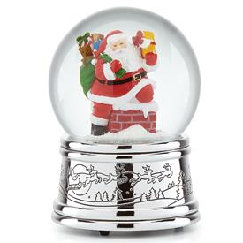 """-ROOFTOP SANTA MUSICAL SNOWGLOBE. 6"""" TALL. PLAYS 'UP ON THE HOUSETOP'"""