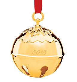 "-,2018 Gold Plated Holly Bell Ornament made by Reed & Barton in USA Height 3.5"" tall SKU#877592 MSRP $60 red ribbon gift boxed"