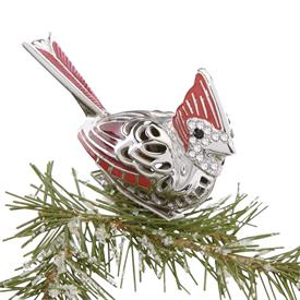 """-,Cardinal Bird Clip Ornament Height 2"""" made by Reed & Barton in USA SKU#877681 MSRP $50 bird looks perched on branch because clipped on"""