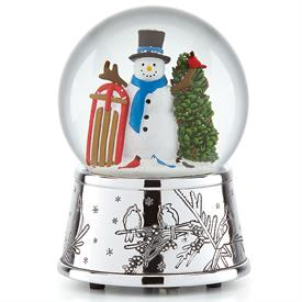 "-SNOWMAN & SLEIGH MUSICAL SNOWGLOBE. 6"" TALL. PLAYS 'O CHRISTMAS TREE'"