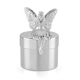 "-,TOOTH FAIRY BOX. SILVER PLATE. 2.75"" TALL"
