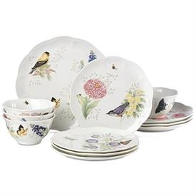 -12-PIECE SET. INCLUDES 4 DINNER PLATES, SALAD PLATES & BOWLS. DISHWASHER & MICROWAVE SAFE. BREAKAGE REPLACEMENT AVAILABLE. MSRP $304.00
