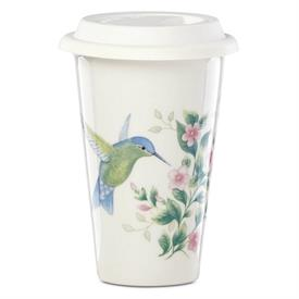 -THERMAL TRAVEL MUG. 10 OZ. CAPACITY. MICROWAVE & DISHWASHER SAFE BASE. BREAKAGE REPLACEMENT AVAILABLE. MSRP $18.00