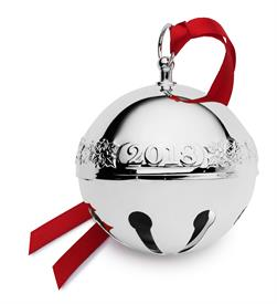 -,48TH EDITION Sleigh Bell Silver Plated 2018 Ornament made by Wallace in USA (Holly & Santas) MSRP $75 UPC#730936070364