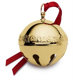 -,29TH ED. Gold Sleigh Bell Gold Plated 2018 Ornament made by Wallace in USA 29th Edition (Holly & Santas) MSRP $105 UPC#730936070371