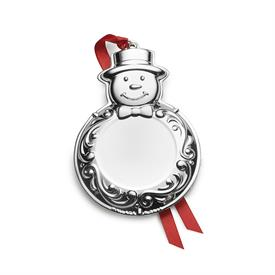 -,6th Ed. Engraveable Silver Plated Snowman Ornament for year 2018 by Wallace