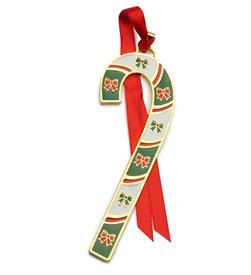 -,38TH ED. Candy Cane 2018 Gold Plated Ornament made by Wallace in USA 38th Edition Bows theme MSRP $45 UPC#73093607401