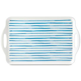 -BLUE STRIPE SERVING TRAY, MELAMINE