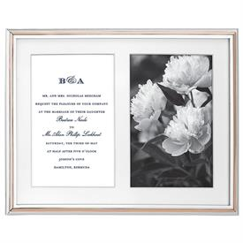 "-DOUBLE 5X7"" INVITATION FRAME. 9"" TALL. SILVER & GOLD PLATE OVER ZINC ALLOY. BREAKAGE REPLACEMENT AVAILABLE."