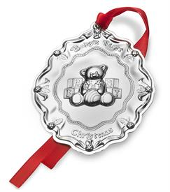 -,Baby's 1st Christmas Sterling Silver Ornament - Teddy Bear with Blocks Year 2018 made by Towle in USA MSRP $195 UPC#044228038780