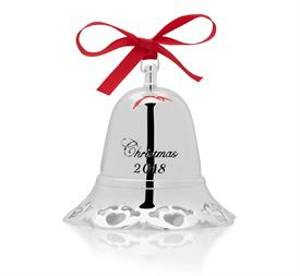 "-,Musical Bell Ornament Silver Plated year 2018 38th Edition Heart Border Plays ""Have Yourself a very Merry Little Christmas"" made by Towle"