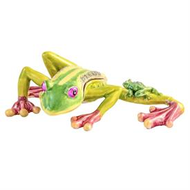 "-LEAPING FROG WITH BABY TRINKET BOX. 5.5"" LONG, 1.25"" TALL, 4"" WIDE"
