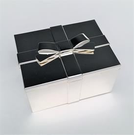-SAKS RIBBON TRINKET/JEWELRY BOX. SILVER PLATE