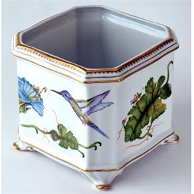 "-SQUARE HUMMINGBIRD CACHEPOT. 6"" WIDE, 7"" TALL"