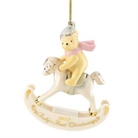 "_,2018 WINNIE THE POOH BABY'S FIRST CHRISTMAS ORNAMENT. 4"" TALL. MSRP $60.00"