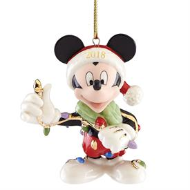 "_,2018 'MERRY & BRIGHT' MICKEY MOUSE ORNAMENT. 3.7"" TALL. MSRP $60.00"