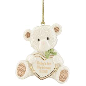 "_2018 BABY'S FIRST CHRISTMAS TEDDY BEAR ORNAMENT. 4.25"" TALL. MSRP $40.00"