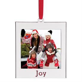 """-'JOY' SILVERPLATE CHARM FRAME ORNAMENT. HOLDS A 2X2"""" PHOTO. MSRP $12.00"""