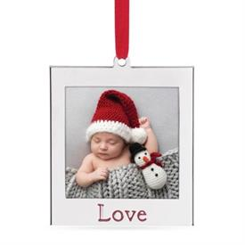 """-'LOVE' SILVERPLATE CHARM FRAME ORNAMENT. HOLDS A 2X2"""" PHOTO. MSRP $12.00"""