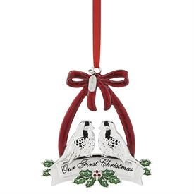 "_2018 SILVERPLATE OUR FIRST CHRISTMAS TOGETHER DOVES ORNAMENT. 3.8"" TALL. MSRP $40.00"