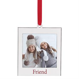 "_'FRIEND' SILVERPLATE CHARM FRAME ORNAMENT. HOLDS A 2.5X3.5"" PHOTO. MSRP $12.00"