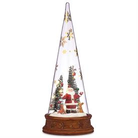 "-MERRY & MAGIC GLASS SANTA SCENE. 12"" TALL, LIGHTS UP. MSRP $60.00"