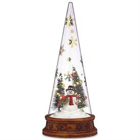 "-MERRY & MAGIC GLASS SNOWMAN SCENE. 12"" TALL. MSRP $60.00"