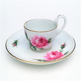 ,SWAN HANDLE DEMITASSE CUP & SAUCER. GILT EDGES AND HANDLE. MARKED FACTORY SECOND FOR PITTING ON SAUCER. POST 1815.