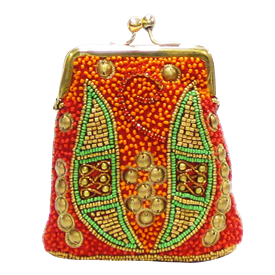 "-,RED, ORANGE, GOLD & GREEN BEADS COIN PURSE. 4.5"" X 4"""