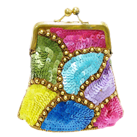 """-,YELLOW, BLUE, PINK, GREEN & PURPLE SEQUINS COIN PURSE. 4.5"""" X 5"""""""