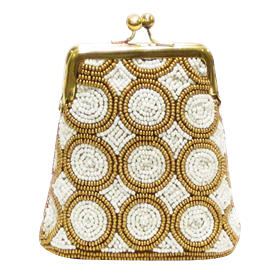 """-,IVORY & GOLD BEADS COIN PURSE. 4.5"""" X 4"""""""