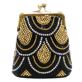 """-,BLACK & GOLD BEADS WITH CLEAR STONES COIN PURSE. 4.5"""" X 4"""""""