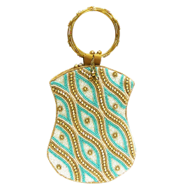 """-,BLUE, IVORY, & GOLD BEADS WITH RING HANDLE MOBILE BAG. 5"""" WIDE, 7"""" LONG"""
