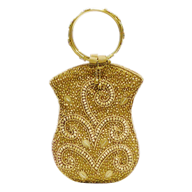 """-,GOLD BEADS WITH GOLD RING HANDLE MOBILE BAG. 5"""" WIDE, 7"""" LONG"""