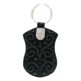 "-,BLACK BEADS & CLEAR STONES WITH RING HANDLE MOBILE BAG. 5"" WIDE, 7"" LONG"