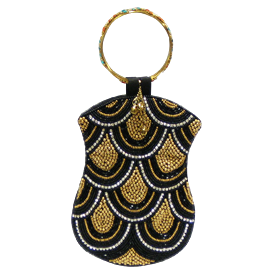 """-,BLACK & GOLD BEADS WITH CLEAR STONES RING HANDLE MOBILE BAG. 5"""" WIDE, 7"""" LONG"""