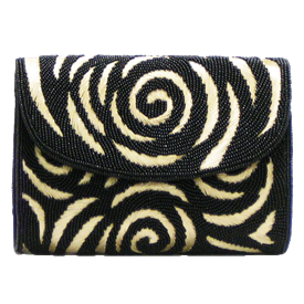 "-,BLACK BEADS & SILVER EMBROIDERY CLUTCH WITH OPTIONAL CHAIN STRAP. 7"" LONG"