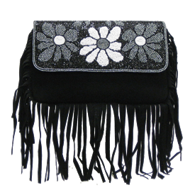 "-,BLACK SUEDE FRINGE CLUTCH WITH WHITE, BLACK & GREY BEAD FLOWERS & OPTIONAL STRAP. 10"" LONG, 7"" TALL"
