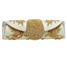 """-,SILVER & GOLD CLUTCH WITH OPTIONAL CHAIN STRAP. 11"""" LONG, 3"""" TALL"""